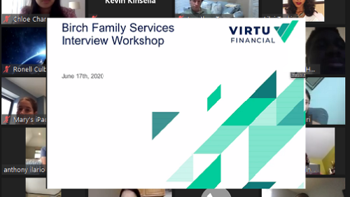 Birch Family Services Interview Workshop screen from Virtu Technology Presentation