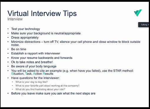 Screen shot of Virtu Technology Presentation on Virtual Interview Tips