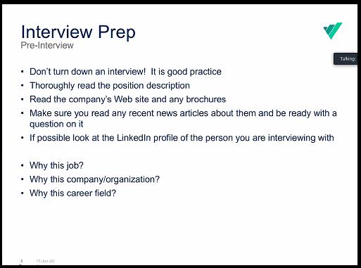 Interview Prep List Presentation Screen Shot